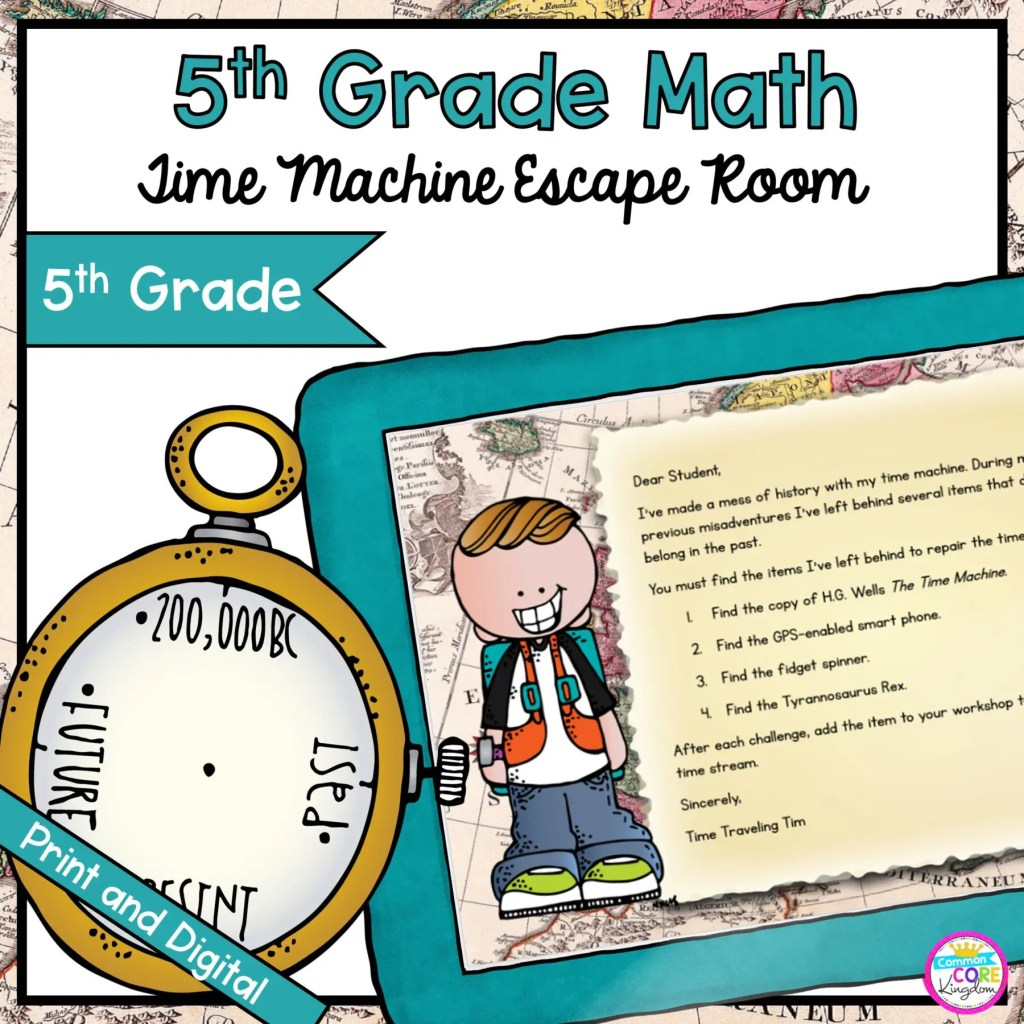 Time Machine Math Time & Measure Escape Room for 5th Grade in Google Slides & Printable Format
