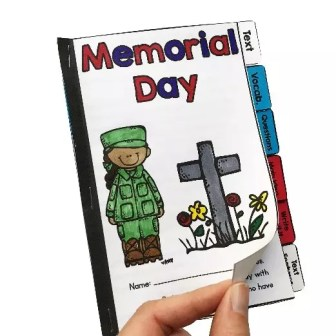 Teaching about memorial day for elementary students guided reader showing a hand turning the page of a differentiated booklet.