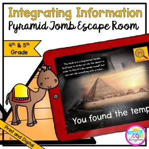 Integrating Information - Pyramid Tomb Escape Room for 4th & 5th Grade in Digital & Printable Format