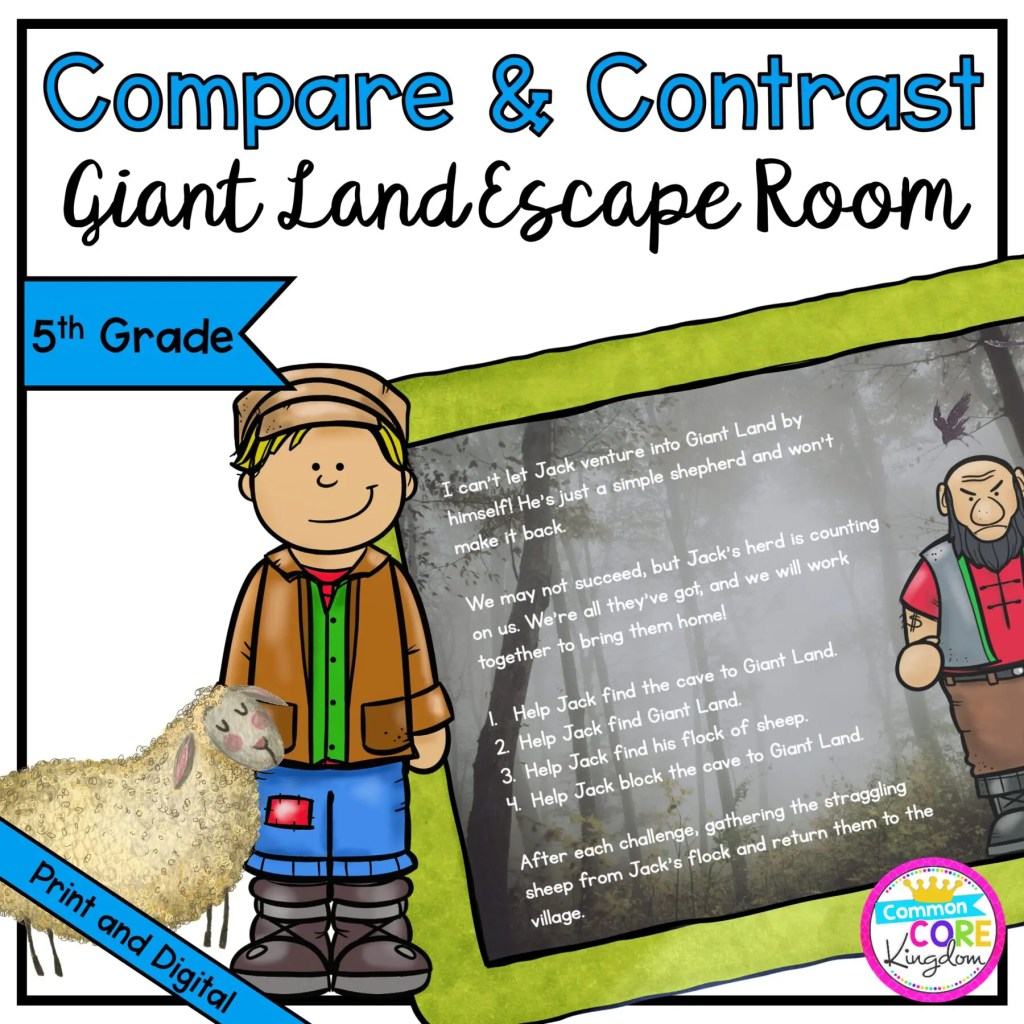 Compare & Contrast - Giant Land Escape Room for 5th Grade in Digital & Printable Format