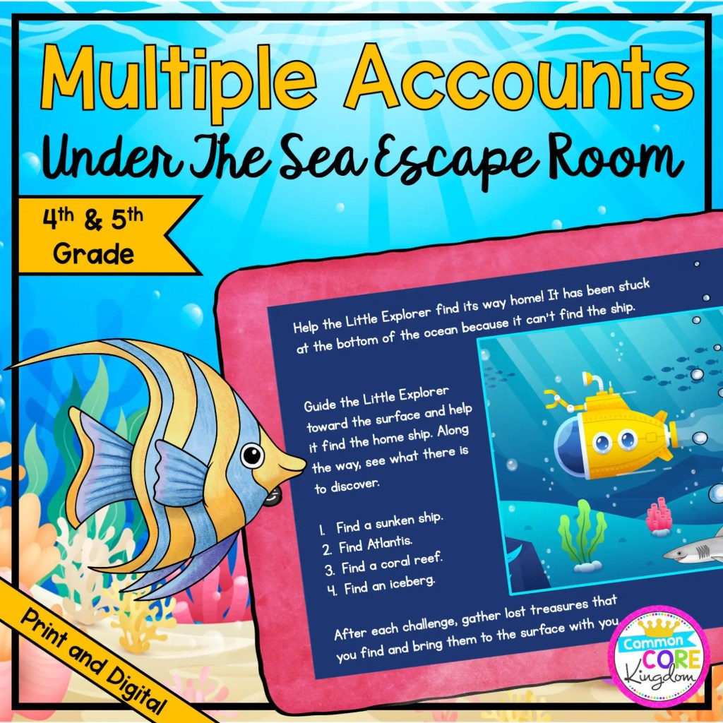 """Multiple Accounts """"Under the Sea"""" Escape Room for 4th & 5th Grade in Digital & Printable Format"""