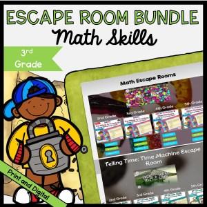 Math Escape Room GROWING Bundle - 3rd Grade - Printable & Digital