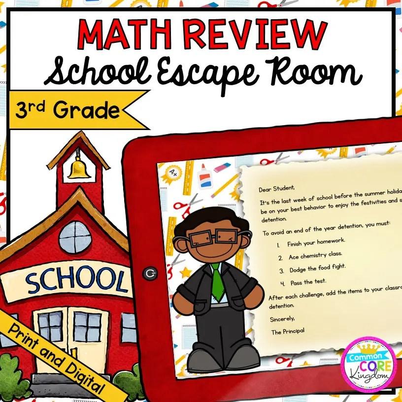 3rd Grade Math Review - School Escape Room in Digital & Printable Format