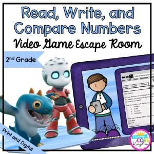 Read, Write, & Compare Numbers Escape Room - 2nd Grade Math - Digital & Print
