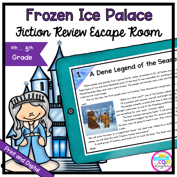 Frozen Ice Palace Fiction Review Escape Room - 4th & 5th Grade - Digital & Printable