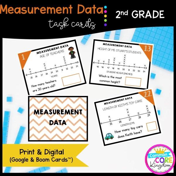 Measurement Data Task Cards - 2nd Grade Math - Print, Slides, & Boom Formats