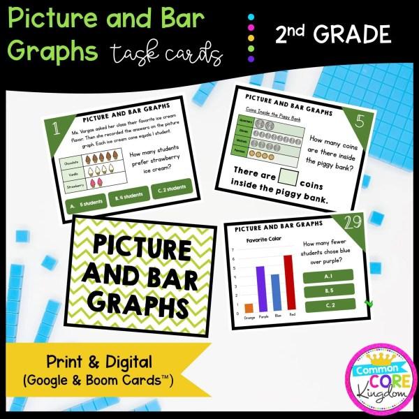 Picture & Bar Graphs - 2nd Grade Math Task Cards - Print, Slides, & Boom Formats
