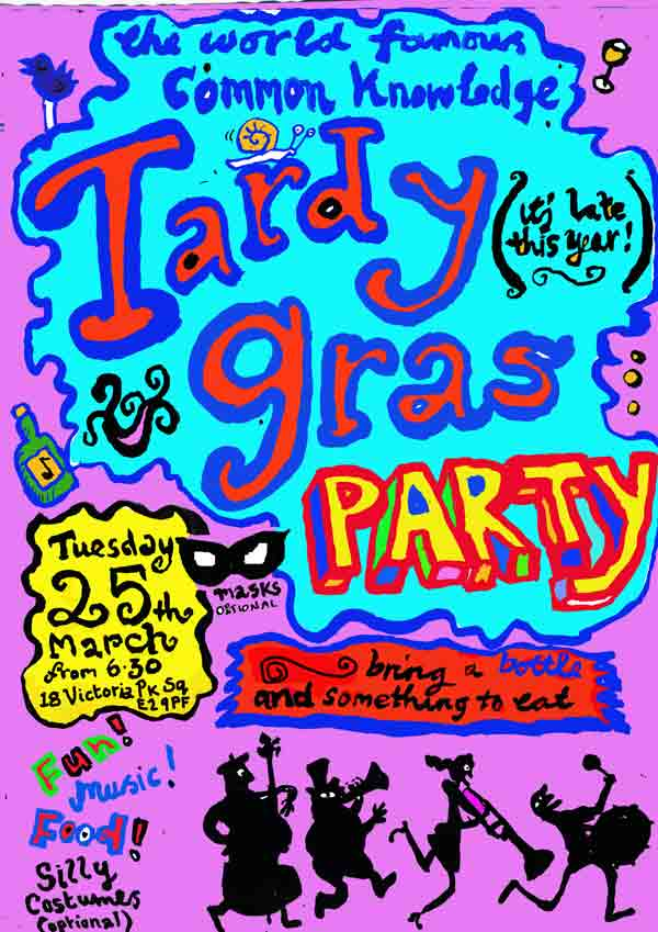 invitation to late mardi gras party