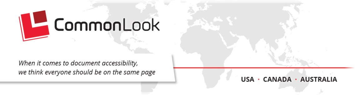 """Graphic of a world map with text reading """"when it comes to document accessibility we think everyone should be on the same page"""""""