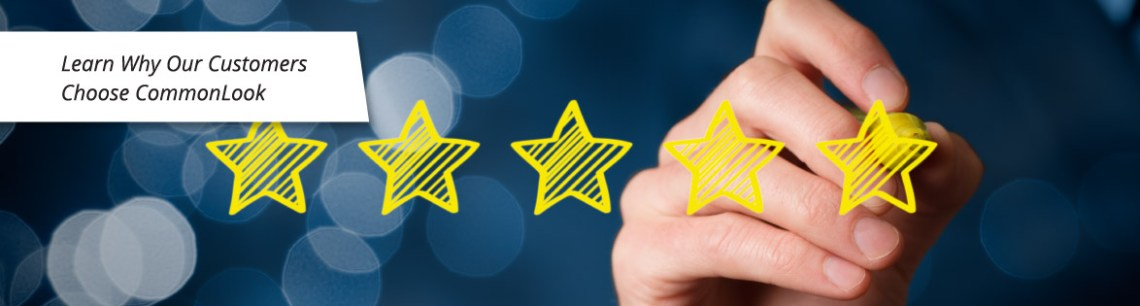 "Graphic of five gold stars and text reading ""Learn why our customers choose CommonLook"""