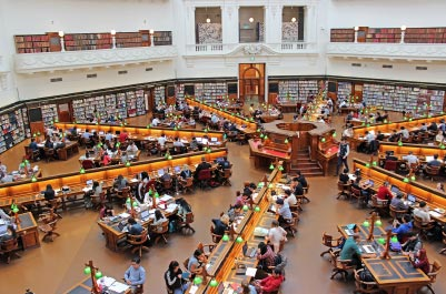 An Image of students at a university library