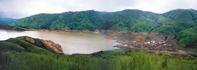Lake Nyos shortly after the limnic eruption. Photo is a composite of two photographs taken on August 29, 1986. Source: USGS