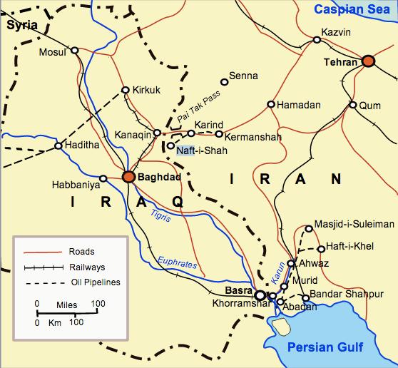 A map of Iraq and western Iran circa 1941.