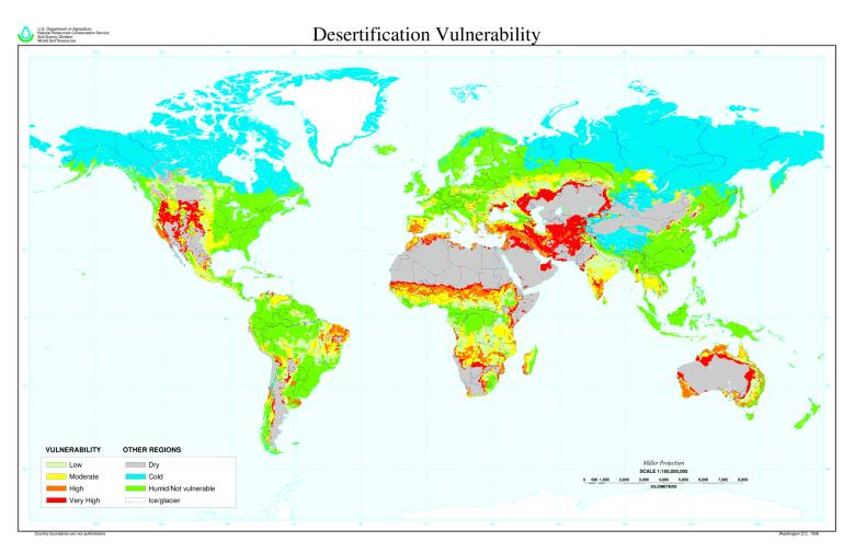 Global Desertification Vulnerability Map. USDA (1997)