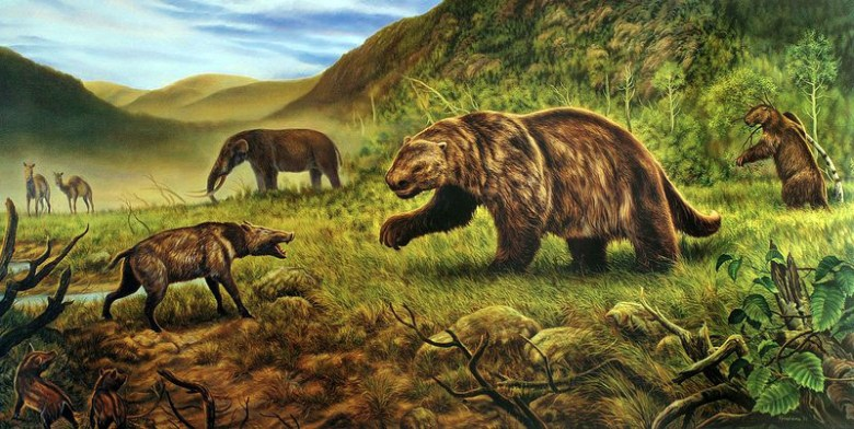 Ground sloths and an American mastodon can be seen in this illustration by George Teichmann
