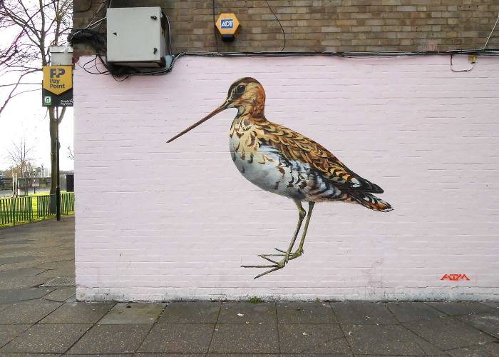 Snipe painting on the wall at Bollo Bridge Road