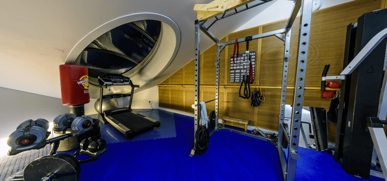 A section of the gym on the top floor of the A-Module of the Halley VI research station