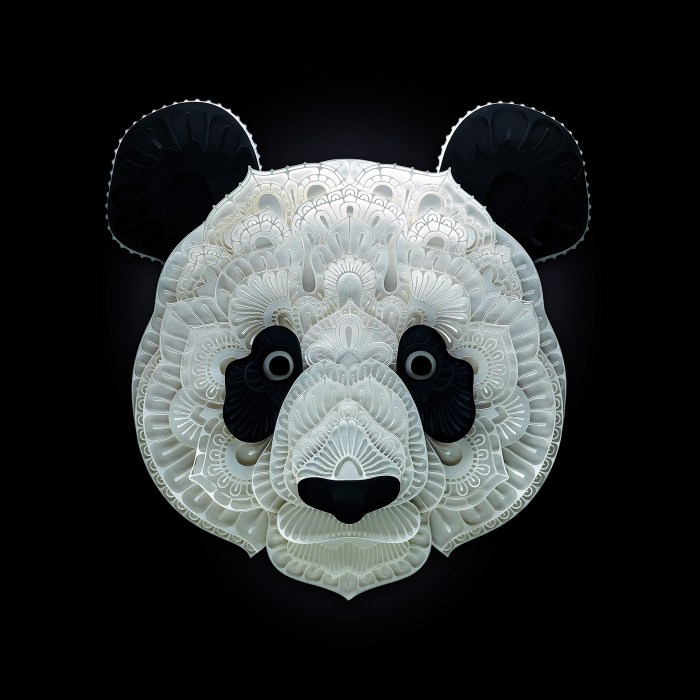 Giant Panda paper sculpture by Patrick Cabral
