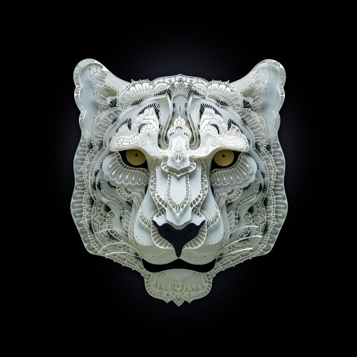 Snow Leopard paper sculpture by Patrick Cabral