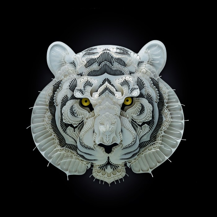 Tiger paper sculpture by Patrick Cabral