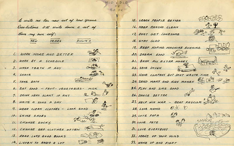 Woody Guthrie's New Year's Rulins