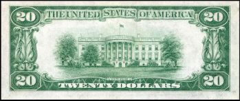 Back of $20 bill, prior to the White House renovations.