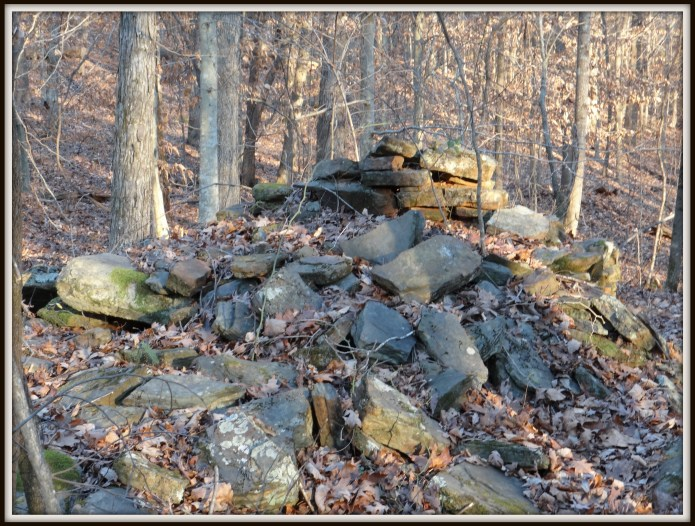 Partially stacked stone pile, Little Mulberry Park, 26 December 2013