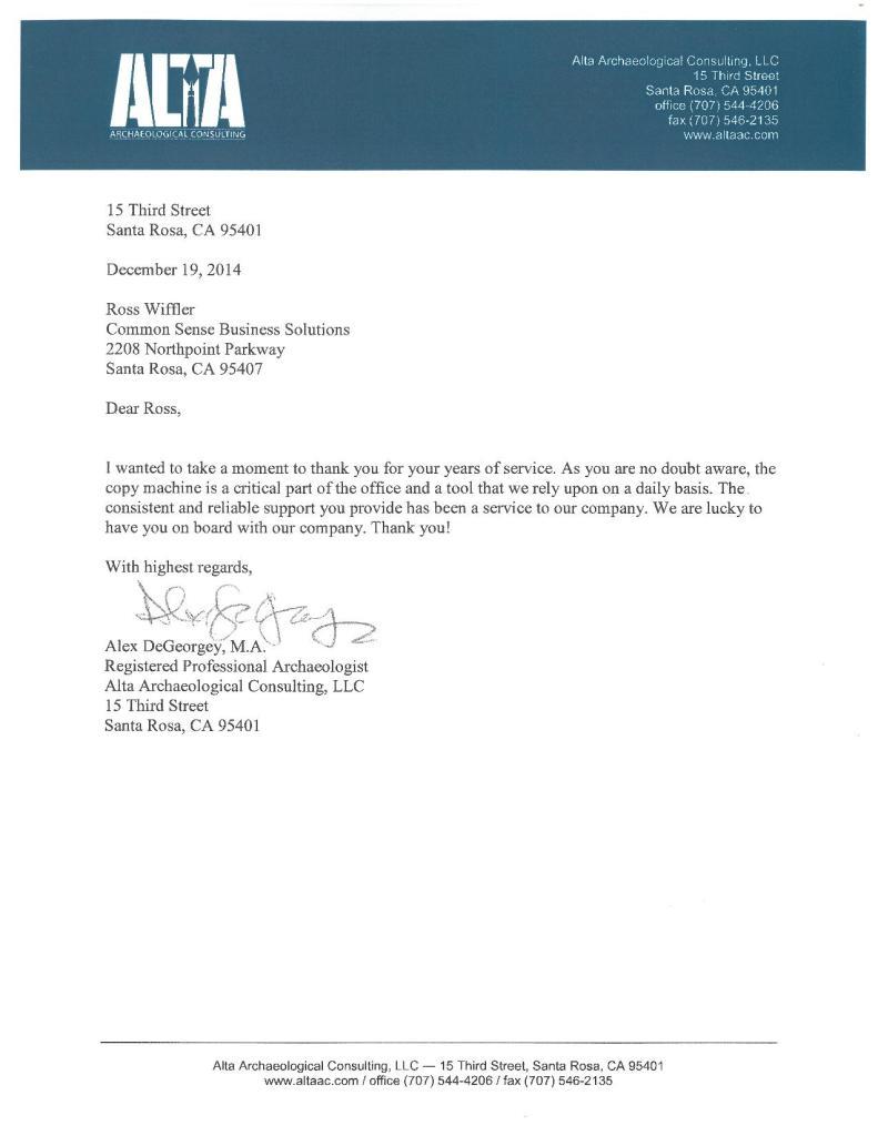 alta architectual testimonial letters