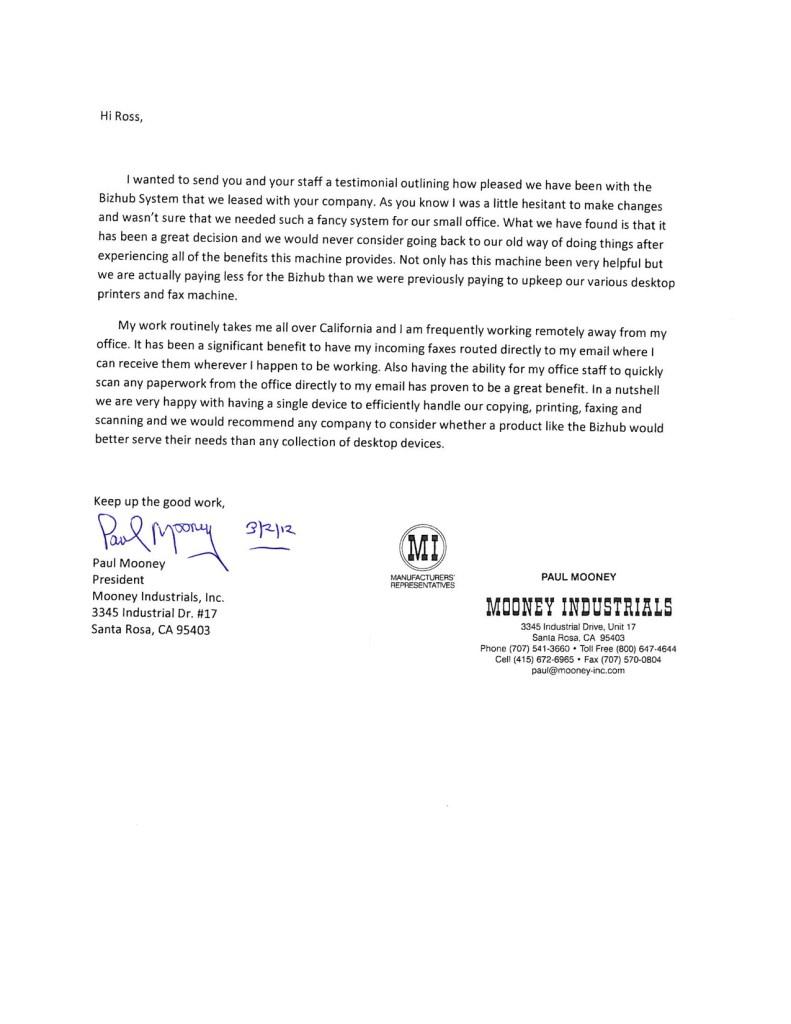 mooney industrials testimonial letter