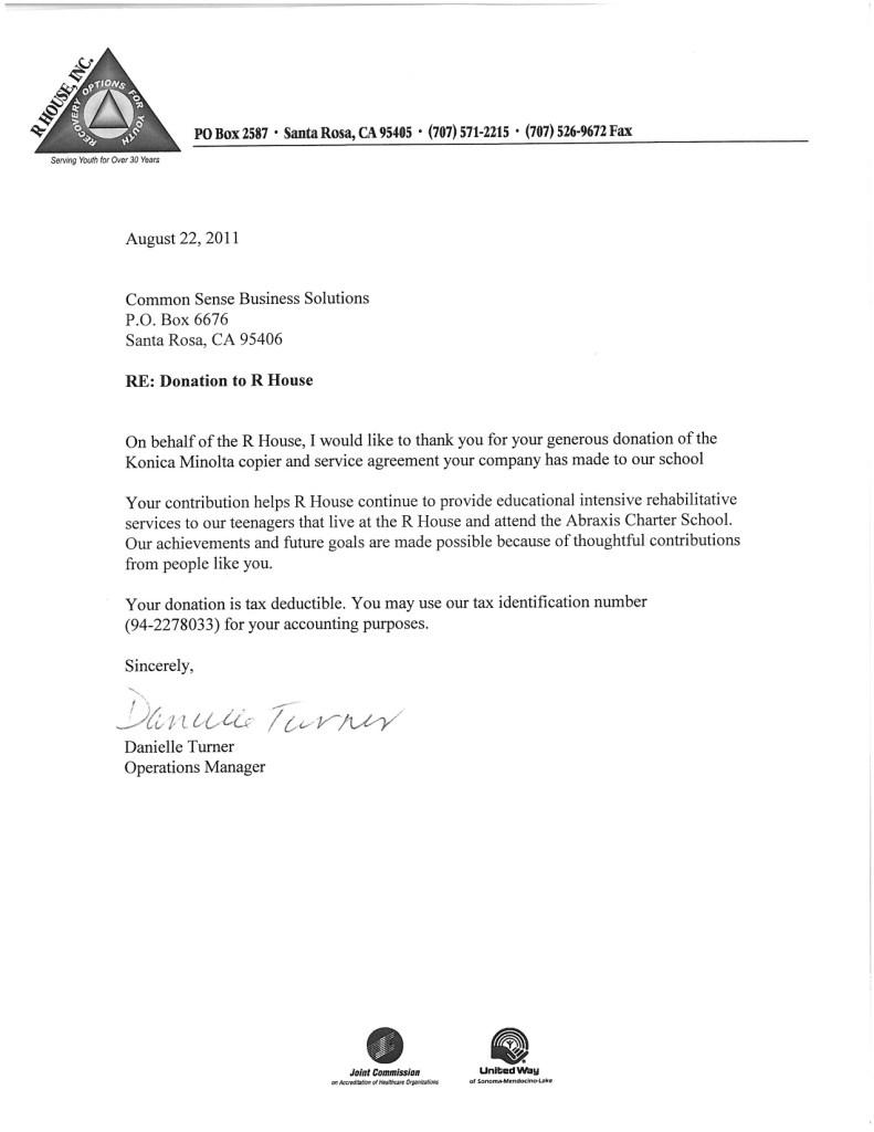 r house testimonial letter