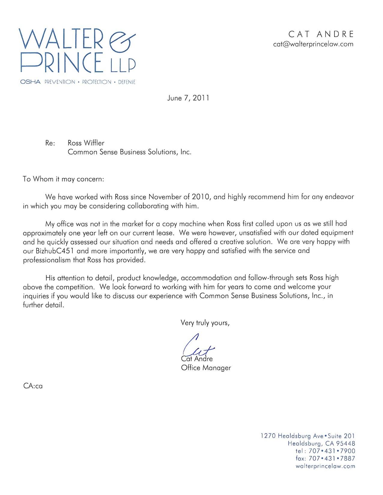 walter prince testimonial letter