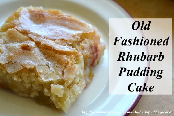 Rhubarb pudding cake has a delicate sugar crust, and rich pudding bottom.  It's easy to make using fresh or frozen rhubarb, and can also be made gluten free.