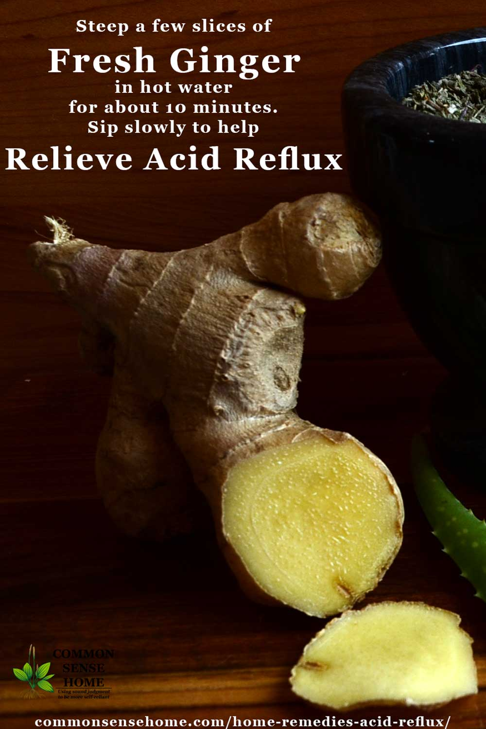 Ginger relieves acid reflux