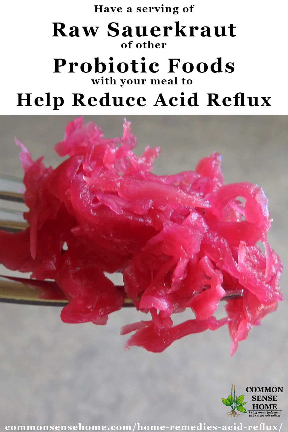 Spoonful of sauerkraut for acid reflux
