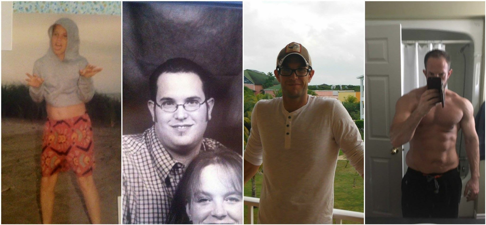 Progress From healthy kid to obese man to skinny guy to fit, healthy and happy