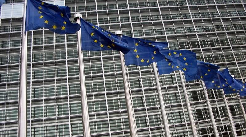 EU commission and EU flags