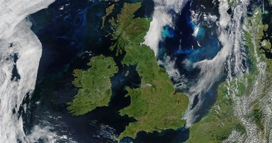 A satellite image of the UK including surrounding bodies of water