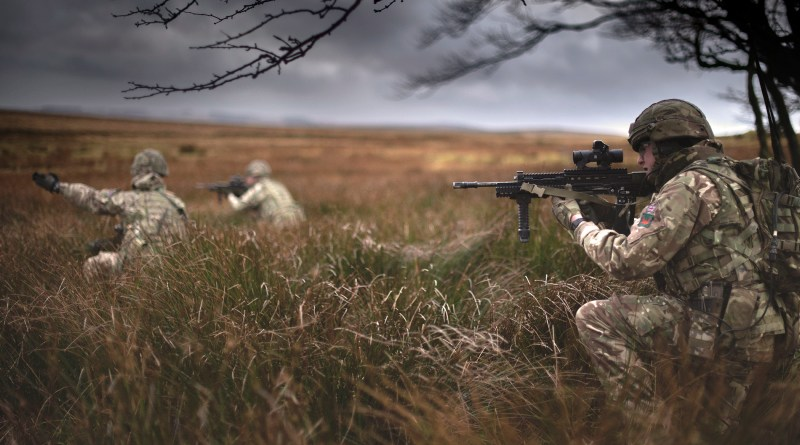 1 RIFLES soldiers pictured during an exercise on the Sennybridge Training Area.