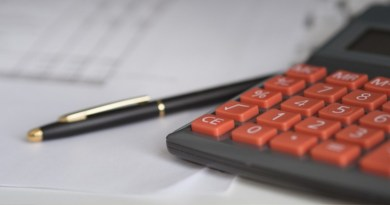 Image showing a calculator and spreadsheet