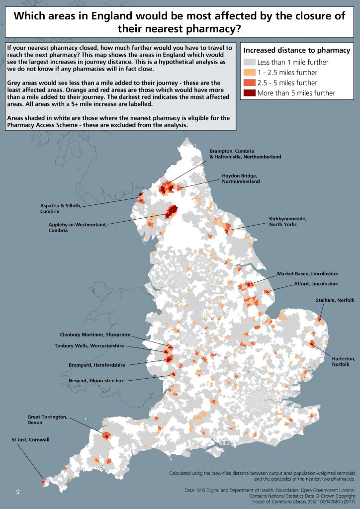 Map to show which areas in England would be most affected by the closure of their nearest pharmacy