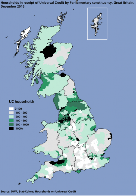 Map showing the number of households in receipt of UC by constituency, Great Britain