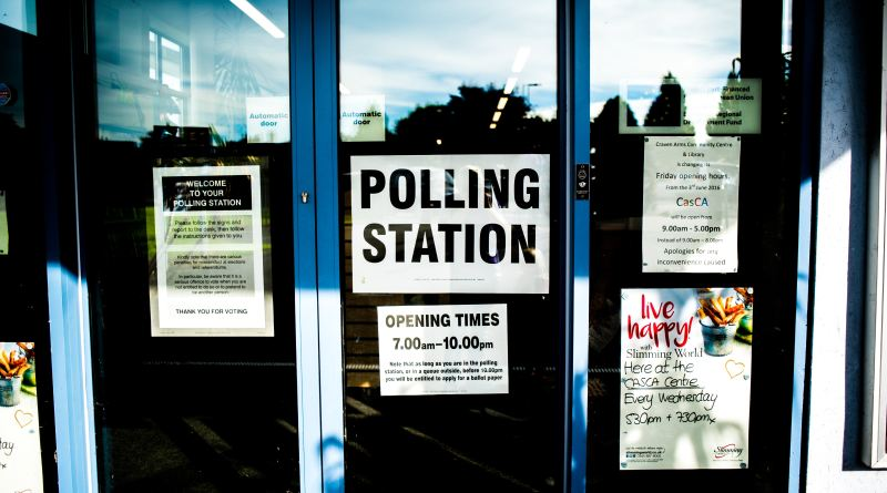 picture of a polling station sign