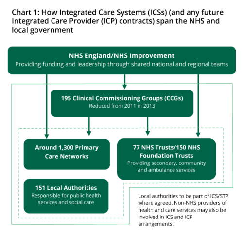 A diagram showing the NHS reforms as described in the text.