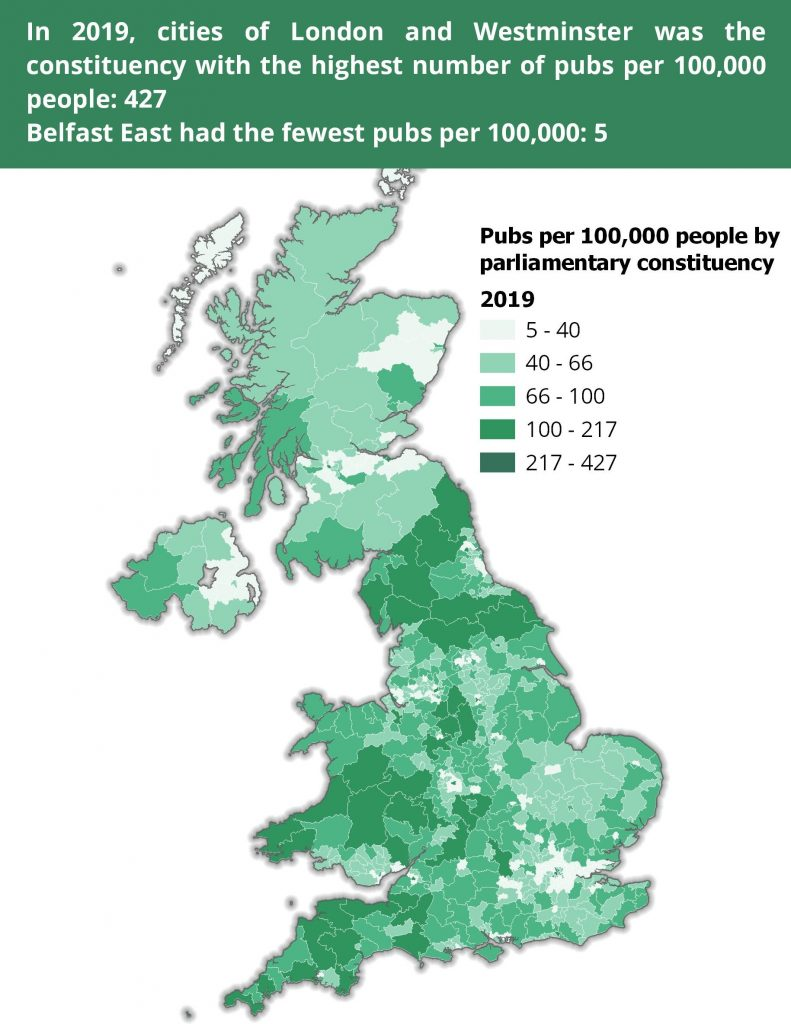 A map showing the constituencies in the UK with the most and fewest pubs per 100,000 people.