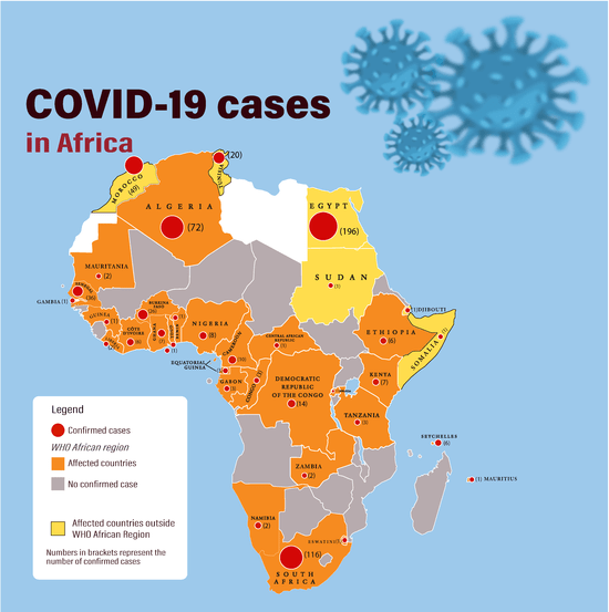 A map of Africa with the number of Covid-19 cases per country detailed.