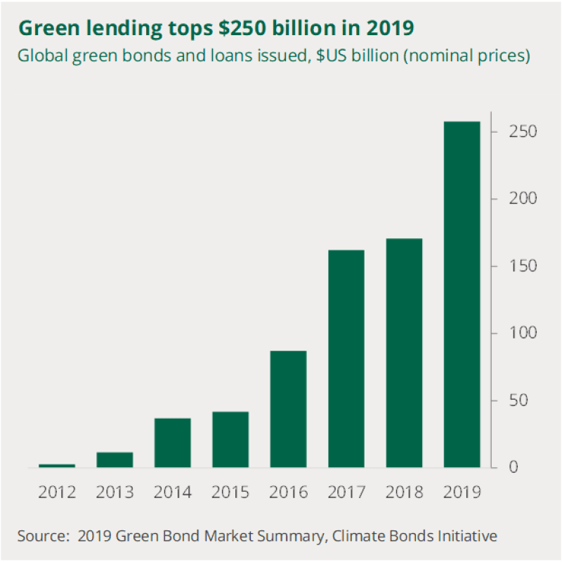 A chart to show trends in the value of green bonds issued since 2012. Their value increased rapidly from near zero in 2012 to more than $250 billion in 2019