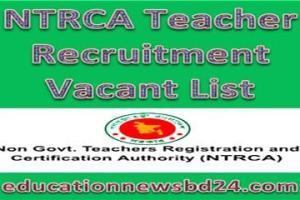 NTRCA Teacher Recruitment Vacant List