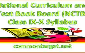 National Curriculum Text Book Board NCTB Class IX-X Syllabus 2021