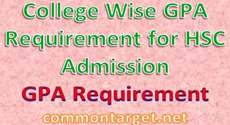 HSC Admission 2020-21 College Wise GPA Requirement