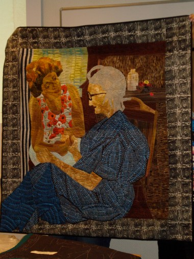 Renowned textile artist Peggie Hartwell depicts a conversation with her grandmother in this story quilt.